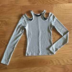 NWOT Zara ribbed long sleeve with shoulder cutouts